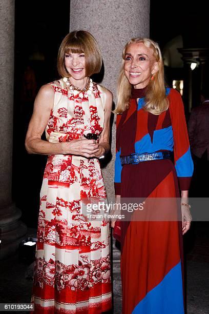 Anna Wintour and Franca Sozzani attend the dinner honouring Bottega Veneta's Tomas Maier 15th anniversary as Creative Director during Milan Fashion...