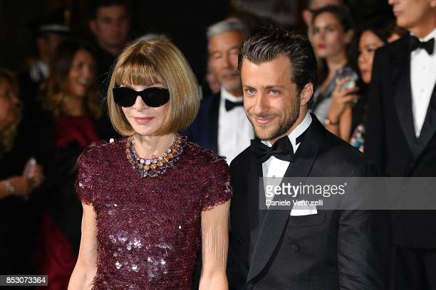 Anna Wintour and Francesco Carrozzini attend the Green Carpet Fashion Awards Italia 2017 during Milan Fashion Week Spring/Summer 2018 on September 24...