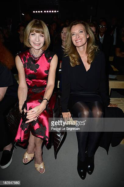 Anna Wintour and French First Lady Valerie Trierweiler attends the Saint Laurent show as part of the Paris Fashion Week Womenswear Spring/Summer 2014...