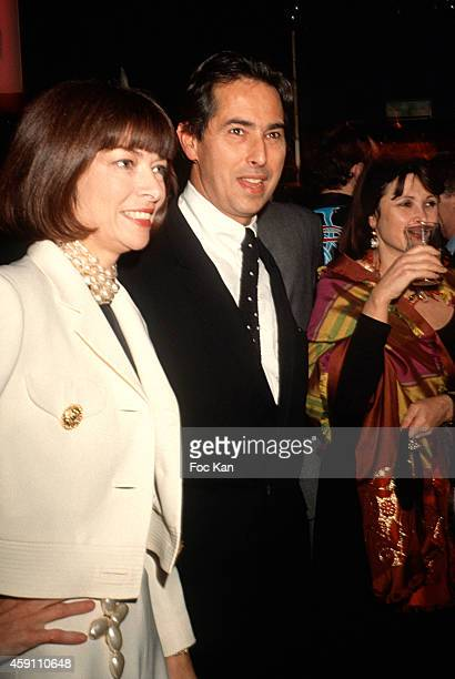 Anna Wintour and Gilles Dufour attend a fashion week Party at Les Bains Douches in the 1990s in Paris France