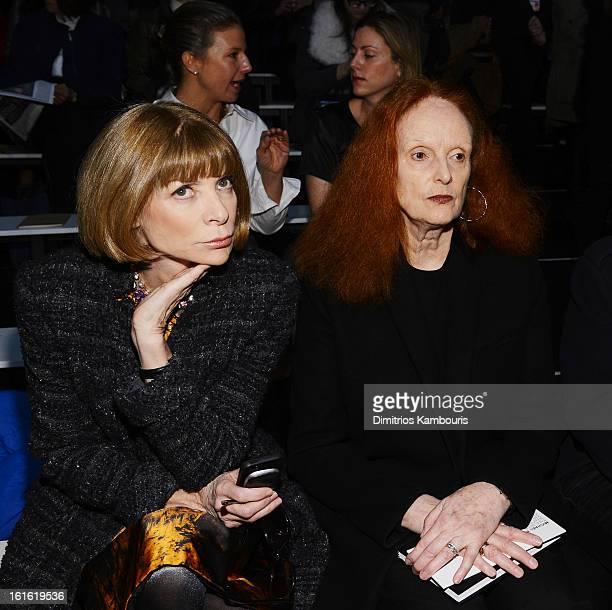Anna Wintour and Grace Coddington attend the Michael Kors Fall 2013 fashion show during MercedesBenz Fashion Week at The Theatre at Lincoln Center on...