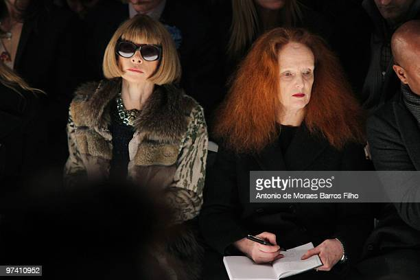 Anna Wintour and Grace Coddington attend the Rochas show during Paris Fashion Week Fall/Winter 2011 at the Place Vendome on March 3 2010 in Paris...