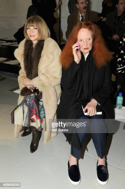 Anna Wintour and Grace Coddington attend the Rodarte fashion show during MercedesBenz Fashion Week Fall 2014 at Center 548 on February 11 2014 in New...