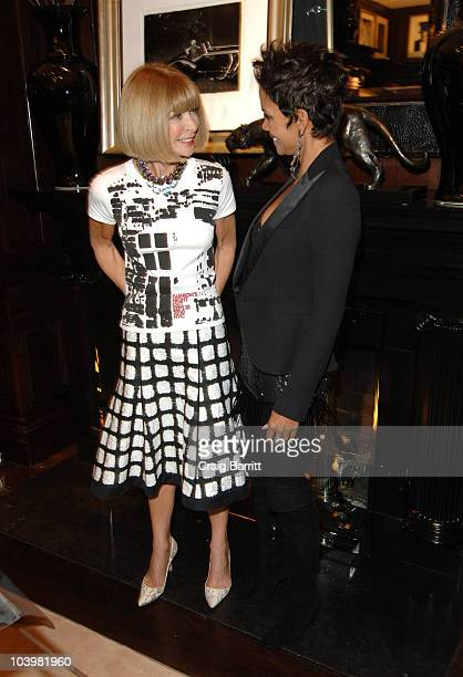 Anna Wintour and Halle Berry at the Ralph Lauren celebration of Fashion's Night Out at Ralph Lauren Mansion on September 10, 2010 in New York City.