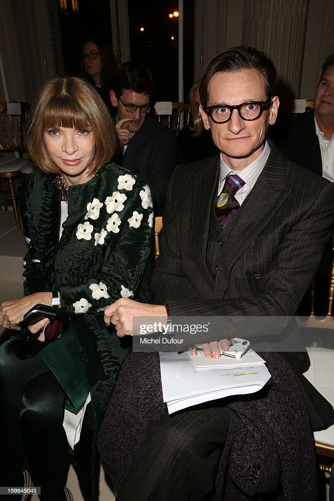 Anna Wintour and Hamish Bowles attend the Valentino Spring/Summer 2013 Haute-Couture show as part of Paris Fashion Week at Hotel Salomon de Rothschild on January 23, 2013 in Paris, France.
