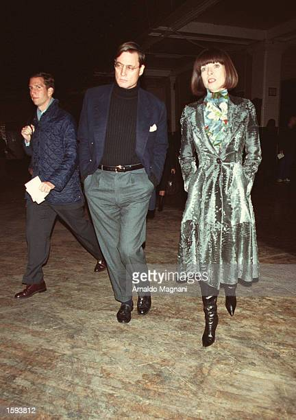 Anna Wintour and her boyfriend Shelby Brian leave the Marc Jacobs fashion show February 13 2001 in New York City
