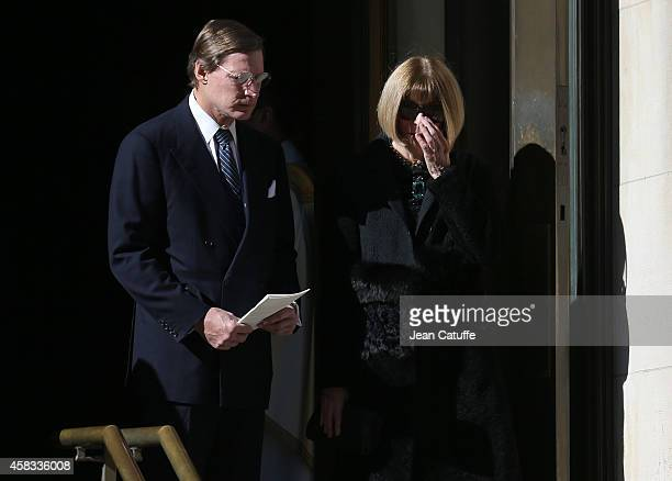 Anna Wintour and her boyfriend Shelby Bryan attend the funeral of fashion designer Oscar De La Renta at St Ignatius Of Loyola church on Park Avenue...