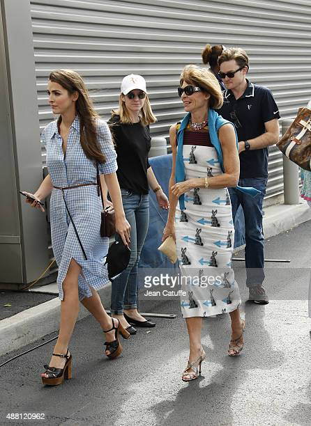 Anna Wintour and her daughter Bee Shaffer arrive to attend the Men's Final on day fourteen of the 2015 US Open at USTA Billie Jean King National...