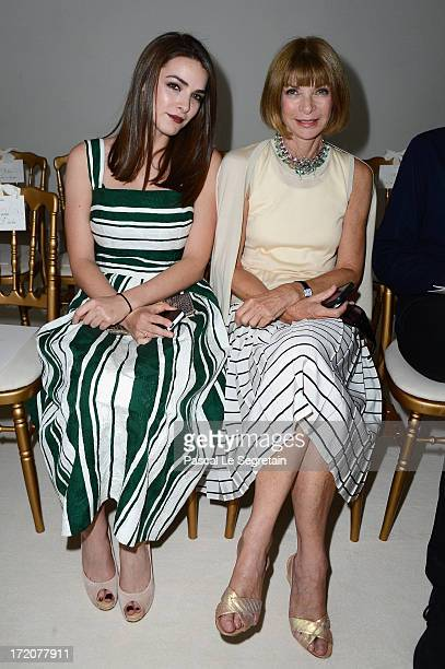 Anna Wintour and her daughter Bee Shaffer attend the Giambattista Valli show as part of Paris Fashion Week HauteCouture Fall/Winter 20132014 at Grand...