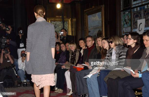 Anna Wintour and her daughter watching the show during Olympus Fashion Week Fall 2004 - Derek Lam - Front Row and Backstage at National Arts Club in...