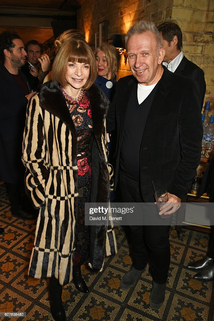 Anna Wintour (L) and Jean-Paul Gaultier attend The Fashion Awards in partnership with Swarovski nominees' lunch hosted by the British Fashion Council with Grey Goose at Little House Mayfair on December 4, 2016 in London, England.