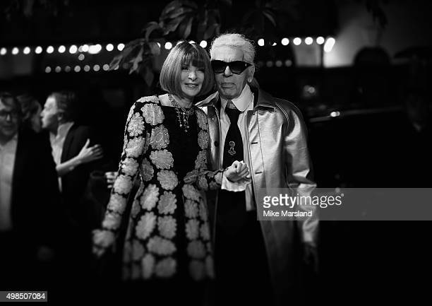 Anna Wintour and Karl Lagerfeld attend the British Fashion Awards 2015 at London Coliseum on November 23 2015 in London England