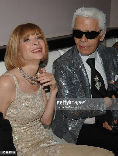 Anna Wintour and Karl Lagerfeld attend the Nina Ricci After Party For Met Ball Hosted By Olivier Theyskens and Lauren Santo Domingo at Philippe in...