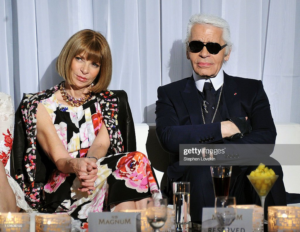 Anna Wintour (L) and Karl Lagerfeld attend the red carpet premiere of the Magnum Ice Cream Film Series during the Tribeca Film Festival at IAC Building on April 21, 2011 in New York City. Created and directed by Lagerfeld and starring Rachel Bilson, the films mark the introduction of globally renowned Magnum ice cream in the United States