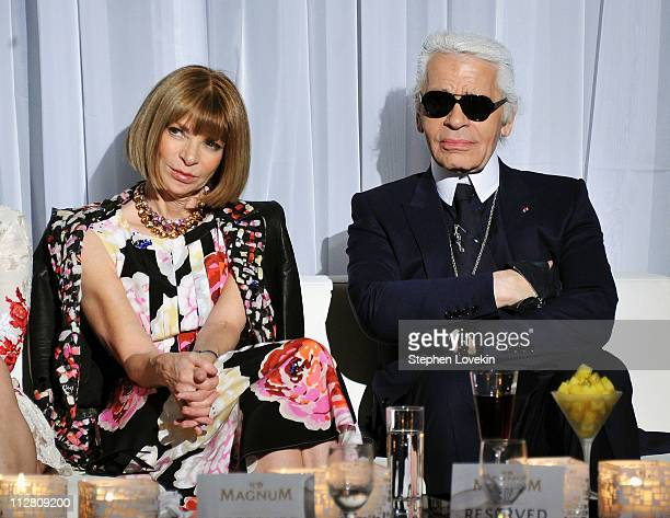 Anna Wintour and Karl Lagerfeld attend the red carpet premiere of the Magnum Ice Cream Film Series during the Tribeca Film Festival at IAC Building...