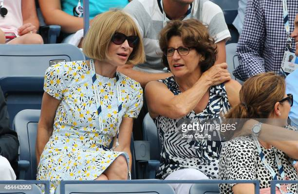 Anna Wintour and Lynette Federer Roger's mother attend Day 7 of the 2014 US Open at USTA Billie Jean King National Tennis Center on August 31 2014 in...