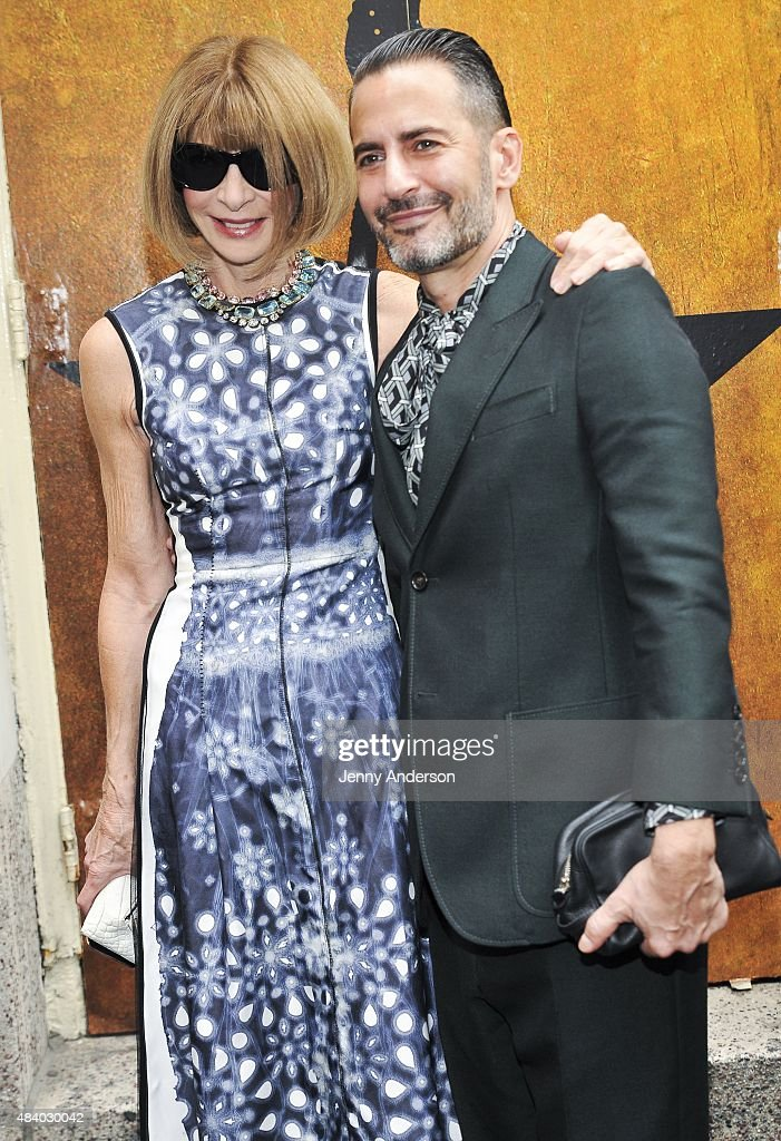 Anna Wintour and Marc Jacobs attend 'Hamilton' Broadway Opening Night at Richard Rodgers Theatre on August 6, 2015 in New York City.