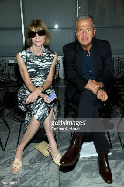 Anna Wintour and Mario Testino attend Oscar De La Renta fashion show during New York Fashion Week on September 11 2017 in New York City