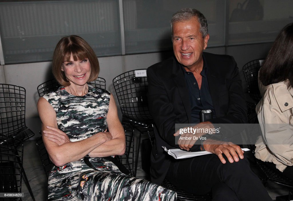 Anna Wintour and Mario Testino attend the Carolina Herrera show at The Museum of Modern Art on September 11, 2017 in New York City.