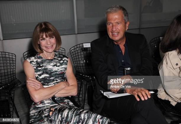 Anna Wintour and Mario Testino attend the Carolina Herrera show at The Museum of Modern Art on September 11 2017 in New York City