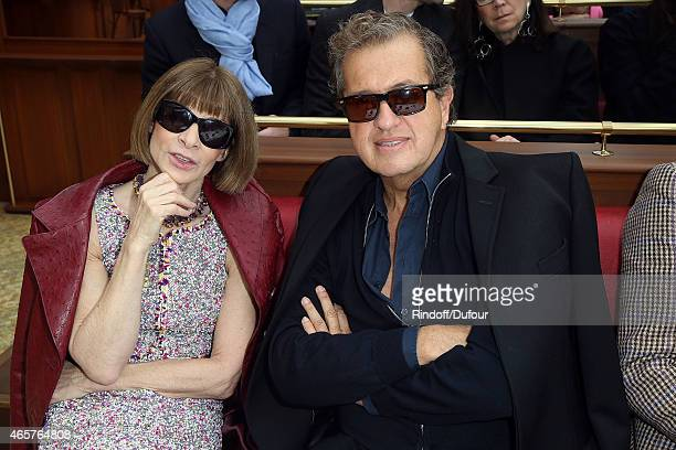 Anna Wintour and Mario Testino attend the Chanel show as part of the Paris Fashion Week Womenswear Fall/Winter 2015/2016 at Grand Palais on March 10...