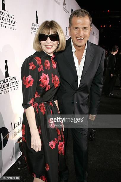 Anna Wintour and Mario Testino during Herb Ritts and Mario Testino Receive Rodeo Drive Walk of Style Award Red Carpet at Rodeo Drive in Beverly Hills...
