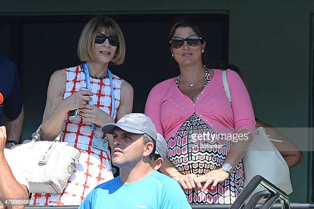 Anna Wintour and Mirka Federer are seen at Sony Open Tennis at Crandon Park Tennis Center on March 21, 2014 in Key Biscayne, Florida.