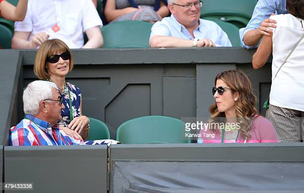 Anna Wintour and Mirka Federer attend day six of the Wimbledon Tennis Championships at Wimbledon on July 4, 2015 in London, England.