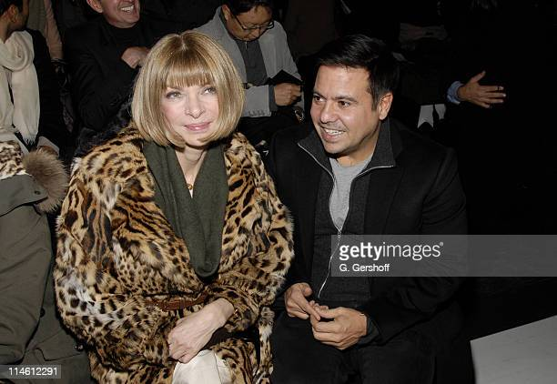 Anna Wintour and Narciso Rodriguez during MercedesBenz Fashion Week Fall 2007 Donna Karan Front Row at 711 Greenwich Street in New York City New York...