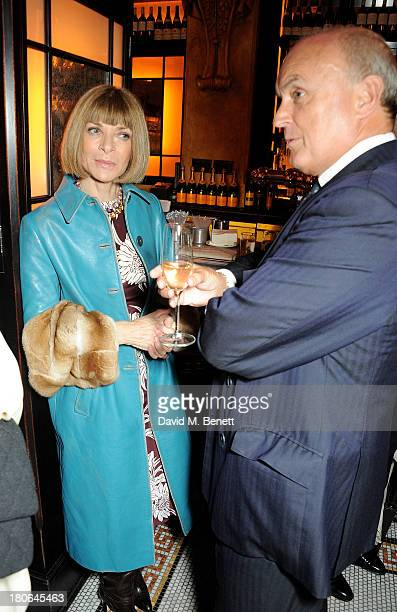 Anna Wintour and Nicholas Coleridge attend a private dinner hosted by British Vogue celebrating London Fashion Week SS14 at Balthazar on September...