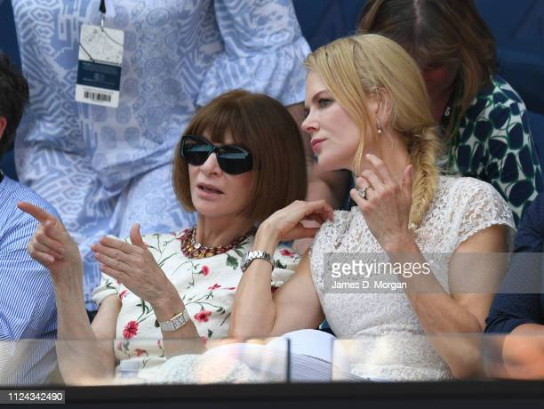 Anna Wintour and Nicole Kidman as they attend the 2019 Australian Open at Melbourne Park on January 24 2019 in Melbourne Australia