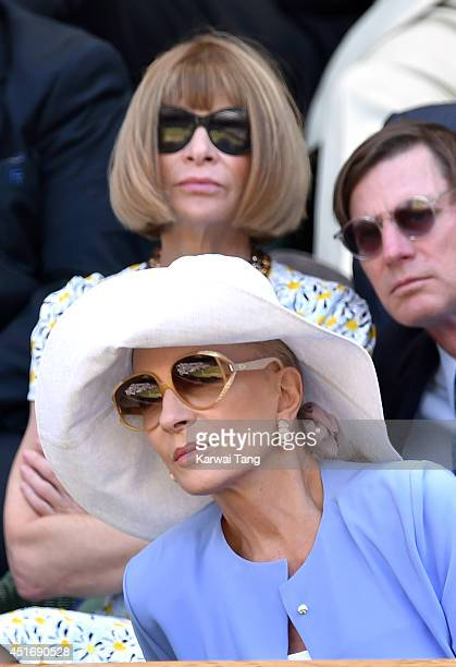 Anna Wintour and Princess Michael of Kent attend the semifinal match between Noval Djokovic and Grigor Dimitrov on centre court at The Wimbledon...