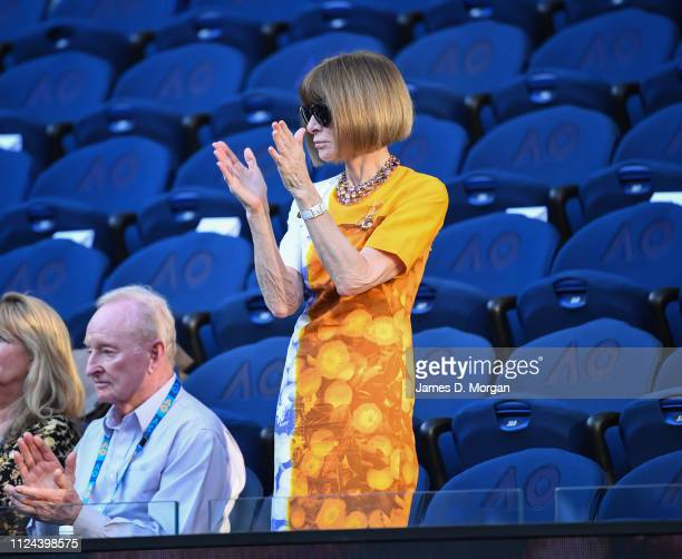 Anna Wintour and Rod Laver are seen ahead of the Rafael Nadal versus Stefanos Tsitsipas mens semi final at the 2019 Australian Open at Melbourne Park...