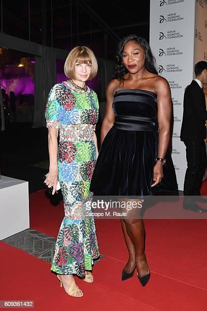 Anna Wintour and Serena Williams attend the Milano Gala Dinner benefitting the Novak Djokovic Foundation presented by Giorgio Armani at Castello...