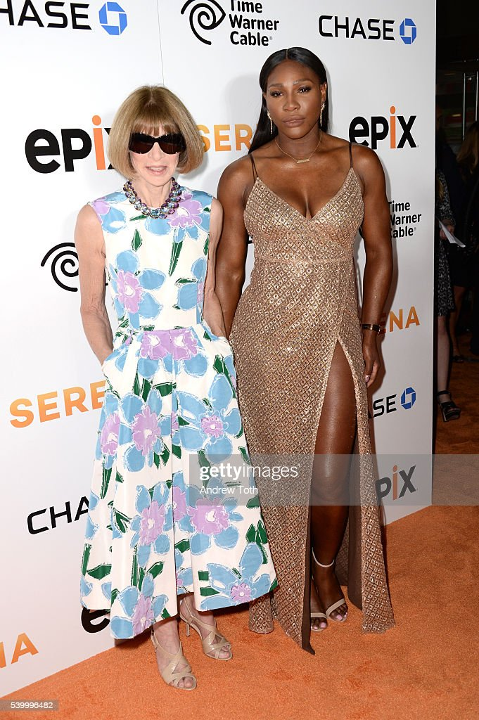 Anna Wintour (L) and Serena Williams attend the premiere of EPIX original documentary 'Serena' at SVA Theater on June 13, 2016 in New York City.