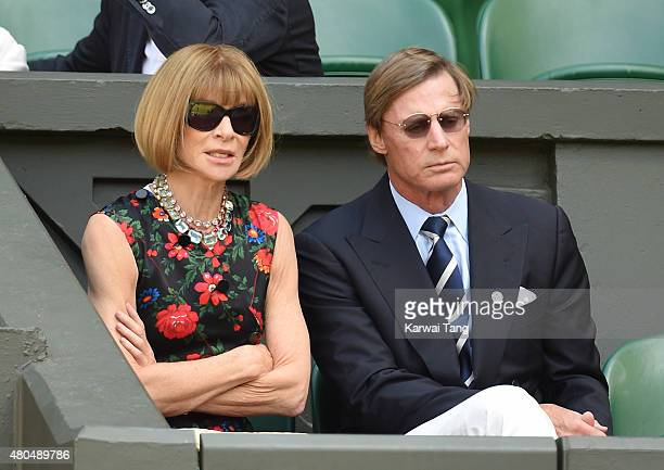 Anna Wintour and Shelby Bryan attend day 12 of the Wimbledon Tennis Championships at Wimbledon on July 11 2015 in London England
