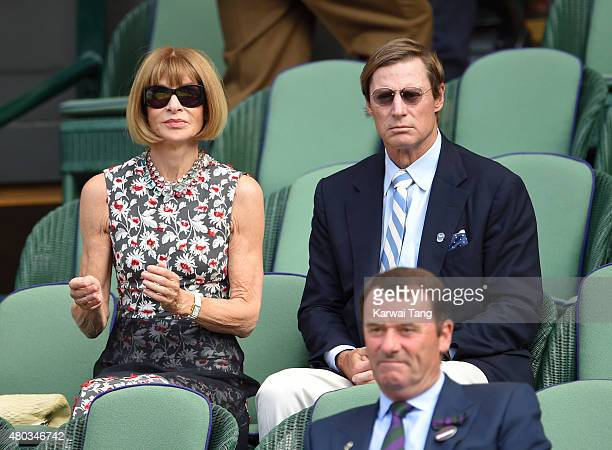 Anna Wintour and Shelby Bryan attend day eleven of the Wimbledon Tennis Championships at Wimbledon on July 10 2015 in London England