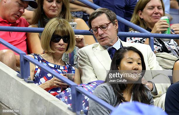 Anna Wintour and Shelby Bryan attend DimitrovMurray match from Dimitrov player box on day 8 of the 2016 US Open at USTA Billie Jean King National...