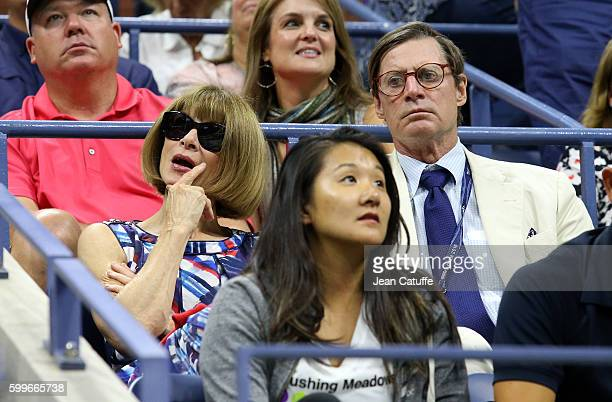 Anna Wintour and Shelby Bryan attend Dimitrov-Murray match from Dimitrov player box on day 8 of the 2016 US Open at USTA Billie Jean King National...