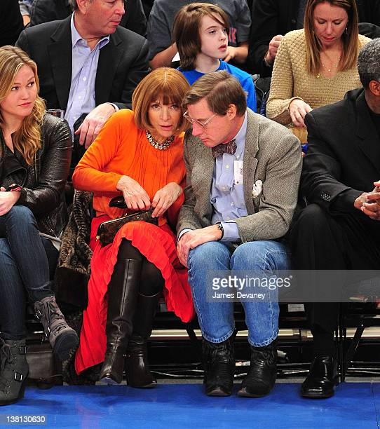 Anna Wintour and Shelby Bryan attend the Chicago Bulls VS New York Knicks at Madison Square Garden on February 2 2012 in New York City