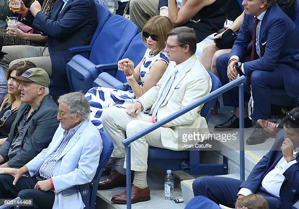 Anna Wintour and Shelby Bryan attend the men's final between Novak Djokovic of Serbia and Stan Wawrinka of Switzerland at Arthur Ashe Stadium on day...