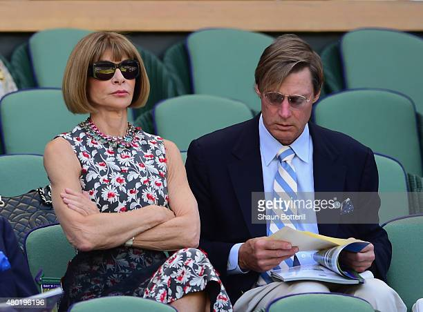 Anna Wintour and Shelby Bryan during day eleven of the Wimbledon Lawn Tennis Championships at the All England Lawn Tennis and Croquet Club on July 10...