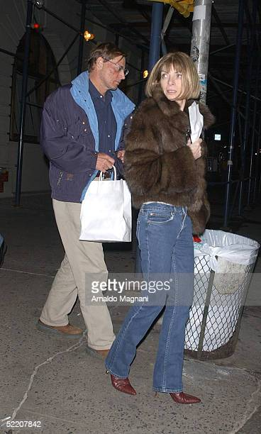 Anna Wintour and Shelby Bryan leave a midtown restaurant after dinner February 16 2005 in New York CIty