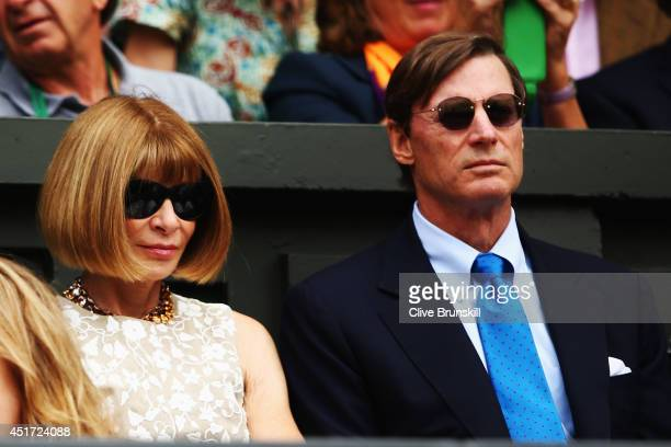 Anna Wintour and Shelby Bryan sit in the Royal Box on Centre Court before the Ladies' Singles final match between Eugenie Bouchard of Canada and...