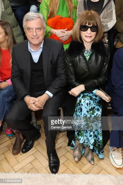 Anna Wintour and Sidney Toledano attend the JW Anderson show during London Fashion Week February 2019 at the Yeomanry House on February 18 2019 in...
