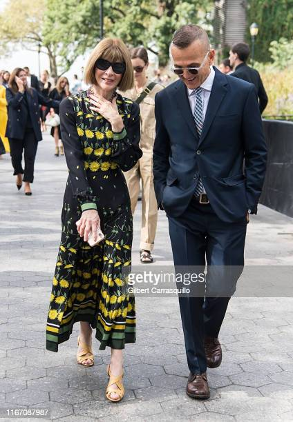 Anna Wintour and Steven Kolb are seen arriving to Carolina Herrera fashion show during New York Fashion Week on September 09 2019 in New York City