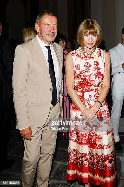 Anna Wintour and Tomas Maier attend the dinner honouring Bottega Veneta's Tomas Maier 15th anniversary as Creative Director during Milan Fashion Week...