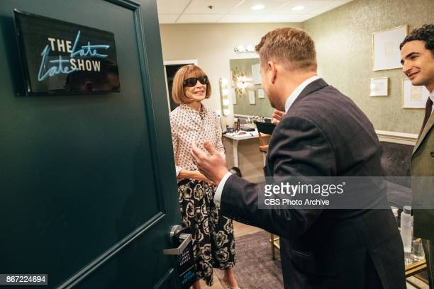 Anna Wintour and Zac Posen chat with James Corden in the green room during 'The Late Late Show with James Corden' Wednesday October 25 2017 On The...