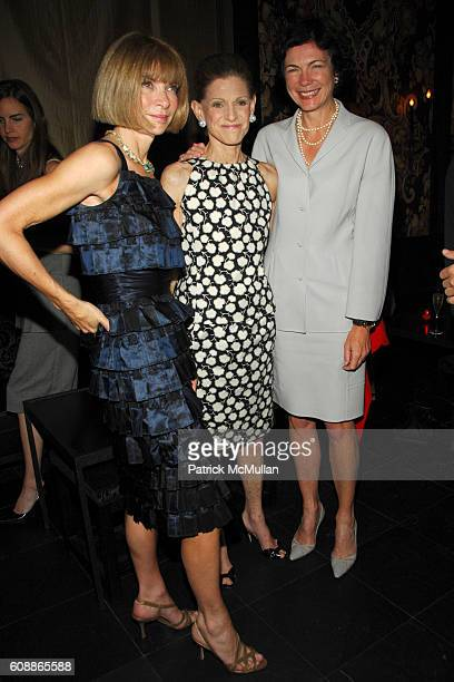 Anna Wintour Annette de la Renta and Diana Taylor attend Men's Vogue Dinner in Honor of Roger Federer at Wakiya on August 23 2007 in New York City