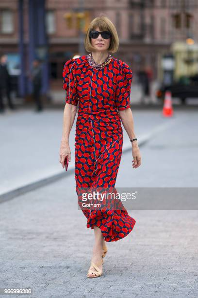 Anna Wintour arrives at the Alexander Wang resort fashion show at Pier 17 on June 3 2018 in New York City